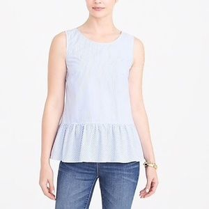 J Crew Striped Bow Back Peplum Top